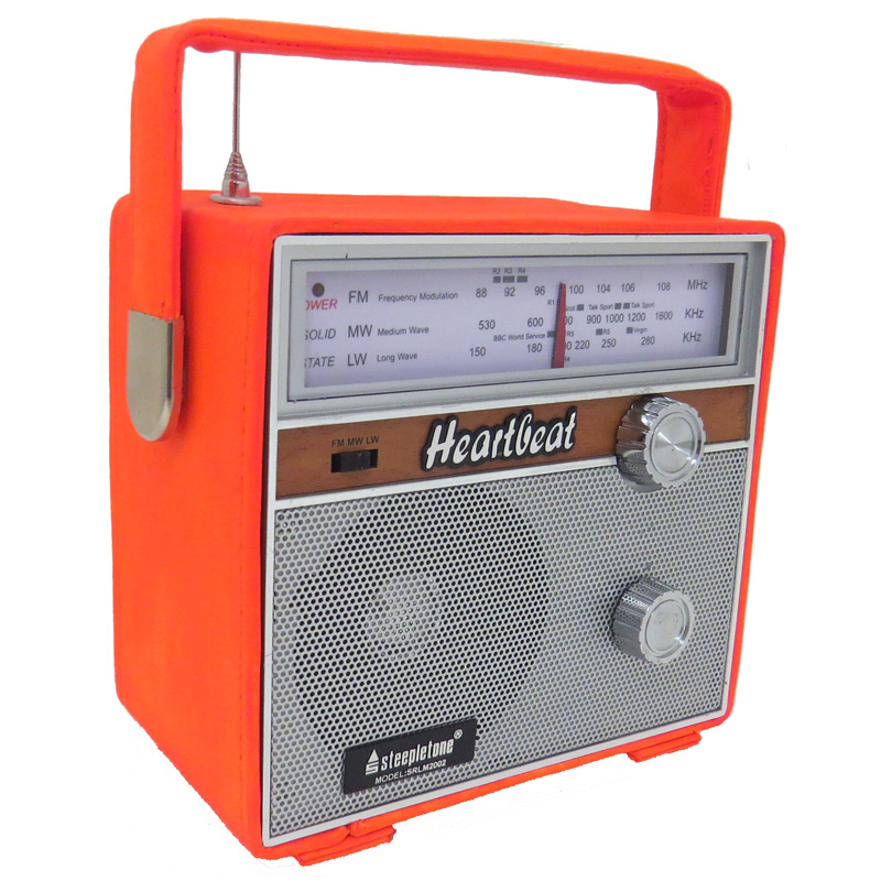 steepletone heartbeat 1960s retro style portable radio orange buy from. Black Bedroom Furniture Sets. Home Design Ideas